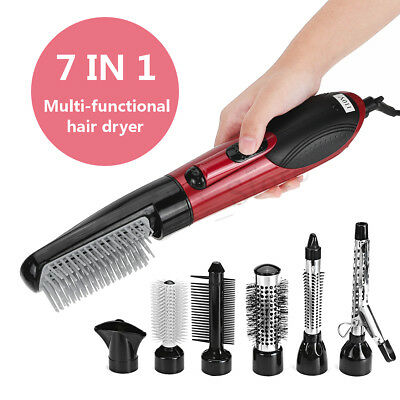 7 in 1 Electric Hair Dryer Hot Air Brush Comb Styling Curling Hairdryer