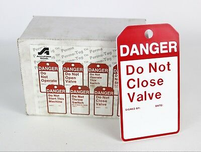 "New LOT of 25 Lockout Tags ACCUFORM SIGNS "" Danger Do Not Close Valve "" MPMTS07"