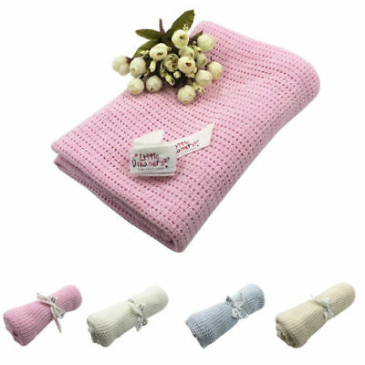 100% Cotton Cellular Soft Baby Blanket for Cot Pram Moses Basket, 70x90cm