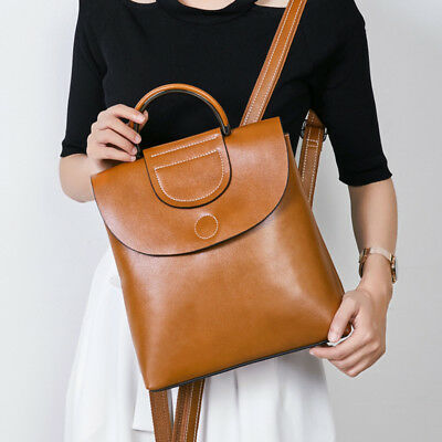 Fashion 2019 Natural 100% Real Genuine Cow Leather Women's Backpack Cowhide Bags