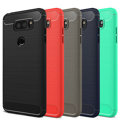 For LG V40 ThinQ Shockproof Rugged Slim Carbon Fiber Silicone Hard Case Cover
