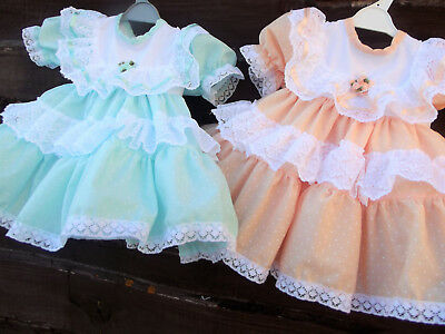 Dream 0-18 Months Peach Mint Pin Spot Netted Lined Frilly Dress Or Reborn Dolls