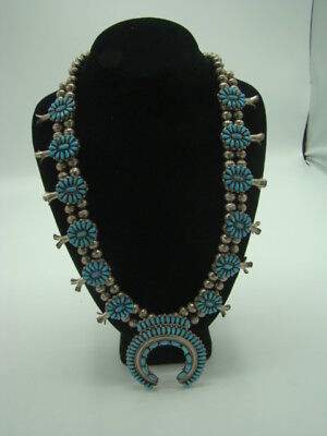 Vintage Navajo Turquoise & Silver Squash Blossom Necklace VMB Victor Moses Begay