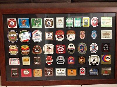 mixed new beer bottle labels framed in solid timber frame