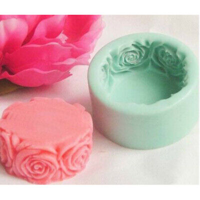 Round Rose Flower Silicone Soap Cake Fondant Mold Cookie Candy Craft DIY Mould