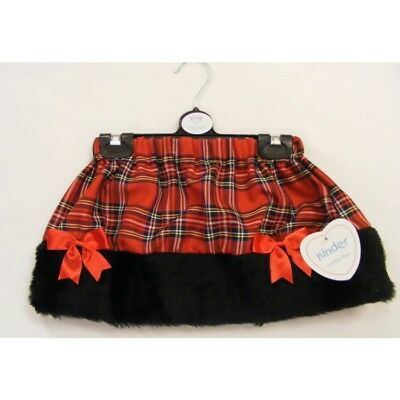 Kinder Little Girls Spanish Style Romany Red & Black Faux Fur Trim Skirt AW18