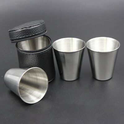 4PCSx Stainless Steel Cover Mug Camping Cups Mug for Drinking Coffee Tea OM