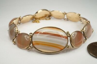 FINE QUALITY ANTIQUE GEORGIAN PERIOD ENGLISH 9K GOLD AGATE BRACELET c1820