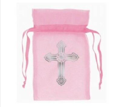 60 x  Communion/Christening/baby shower/wedding pink Organza  Favour party Bags