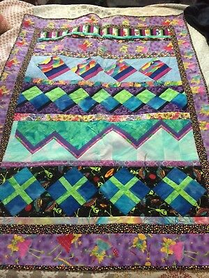 Handmade Quilted Patchwork Baby Childrens Cot Blanket