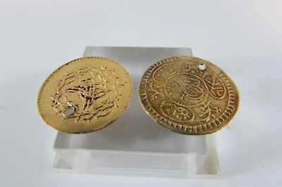 TWO ANTIQUE Good early 19th century high carat gold Ottoman Turkish gold coins