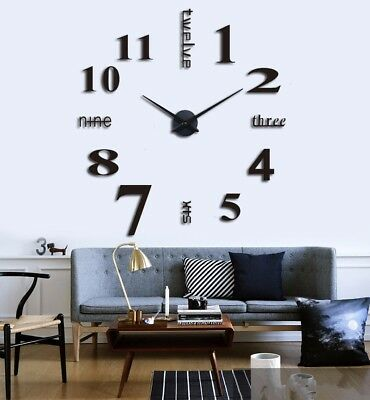 Modern 3D Mirror Surface Large Number Wall Clock Sticker DIY Home Office