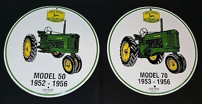 """JOHN DEERE MODEL """"70"""" and """"50"""" 1953-1956  12"""" ROUND SIGN! RARE FIND! 2010 USA"""