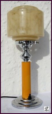Chrome And Butterscotch Yellow Bakelite Art Deco Lamp Of The Period
