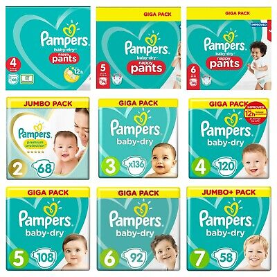 Pampers Baby Dry Nappy Pants Diaper Taped Stretchy Nappies Size 4 5 6 Giga Pack