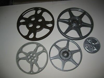 "Lot of 5 Vintage Film Reels Hollywood Decor Room Compco 8.5"" 7"" Kodak 3-3/4"" 9""+"