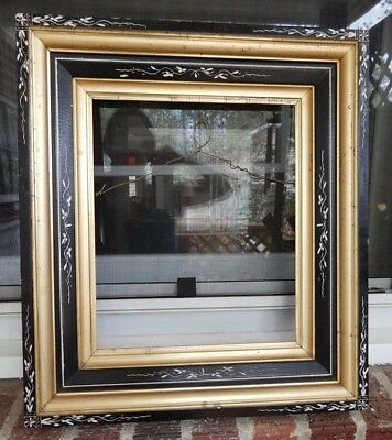 Antique EASTLAKE Victorian BLACK Stenciled & GILT GOLD Wide Picture FRAME c1860s
