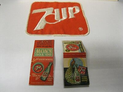 Vintage 7 Up Items One Large Cloth Patch And To Old Match Book Covers
