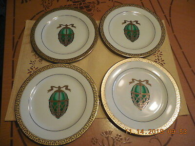 Four (4) Green Faberge Egg Plates 1991 Gold Buffet Royal Gallery Made For Fds