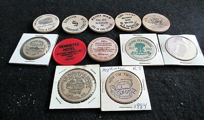 Lot of 11 Antique Vintage Wooden Nickels from CT. RI WI NC MD IN, NY