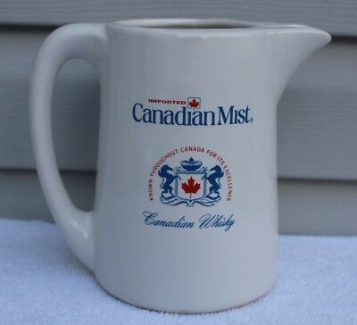 Vintage Imported Canadian Mist Canadian Whisky Ceramic Water Bar Pitcher
