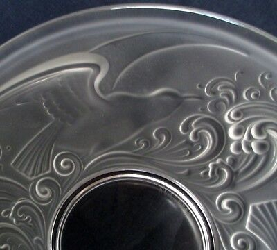 Vintage French Crystal Frosted Glass Val St Lambert Large Birds Charger Bowl