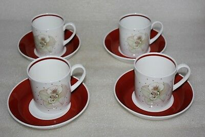 Four Wedgwood Susie Cooper Magnolia Pattern Coffee Cans & Saucers