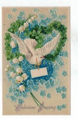 Antique Embossed Valentines Day Post Card White Dove Shamrocks Lily of Valley