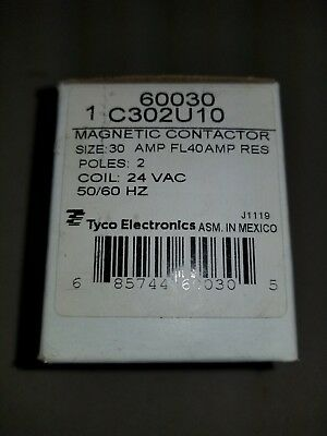 New Tyco Electronics C302U10 Magnetic Contactor 30 AMP 2 POLE 24 VAC Coil- 60030