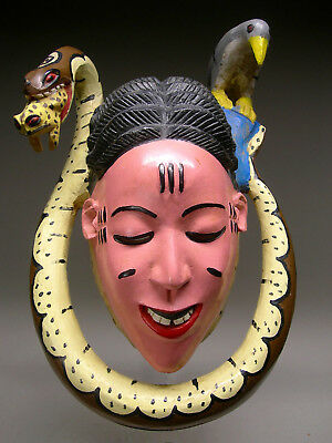 AUTHENTIC ~ GURO ZAOULE MASK from Cote d'Ivoire ~ A Large & Colorful GEM !!!