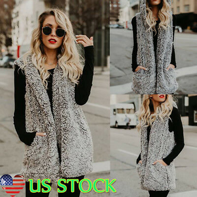 Women Fur Fuzzy Vest Waistcoat Gilet Sleeveless Jacket Coat Winter Outwear Parka