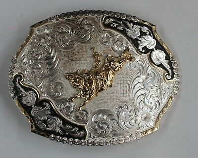 Vintage Montana Silversmiths Silver Plated Belt Buckle