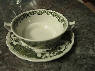 Old Ridgeway Staffordshire Pottery Double Handled Soup Bowl and Saucer