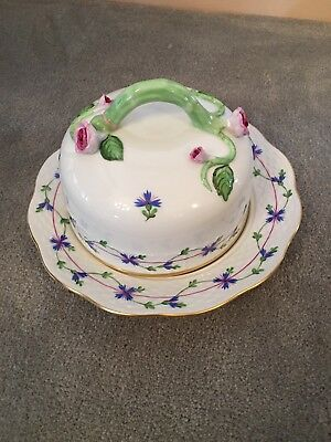 Herend blue garland Covered Cheese Pate Dish Excellent