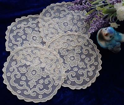 Set Of 4 Antique French Net Applique Lace Goblet Rounds Doilies 5 1/2""