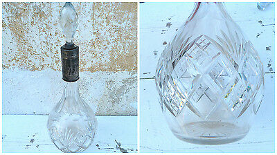 Victorian1900 French geometric cut crystal & sterling minerve decanter
