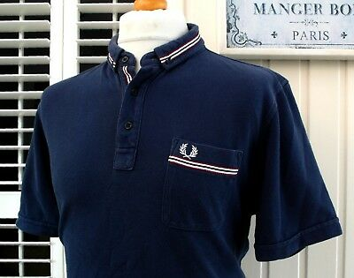 """Fred Perry Navy Tape Trim Slim Fit Polo - XXL - 44"""" - Ska Mod Scooter Casuals"""