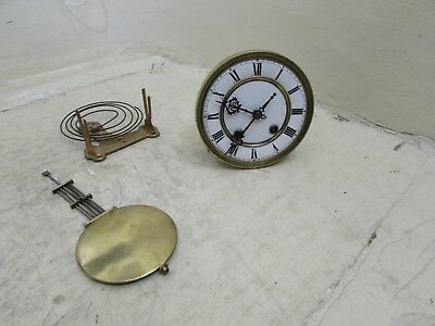 Complete Antique Spring Driven Wall Clock Movement Stamped AM