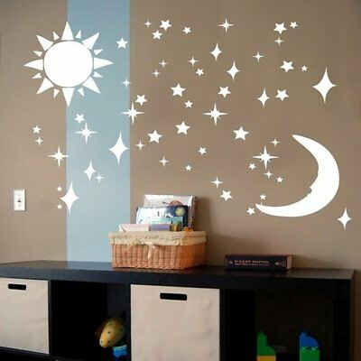 Star Moon Pattern Background Wall Fitting Room Mirror Sticker U3