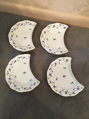Herend blue Garland Crescent Salad Plates Handpainted