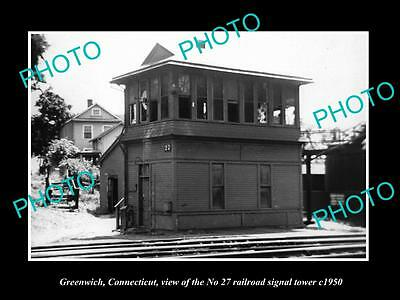 OLD LARGE HISTORIC PHOTO OF GREENWICH CONNECTICUT 27 RAILROAD SIGNAL TOWER c1950