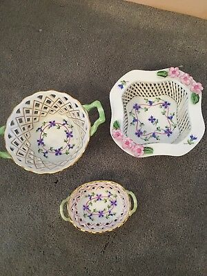 Herend blue garland Open Work Weave Bowls Set Of 3