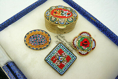 Job Lot Of Vintage Micro Mosaic Flower Brooches And Trinket Box Pill Box Italy