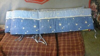 Baby Bed Bumper Pad, Blue W Golden Stars, Never Used