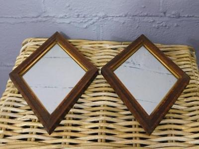 A Delightful Pair Of Antique Country Oak Framed Diamond Shaped Wall Mirrors