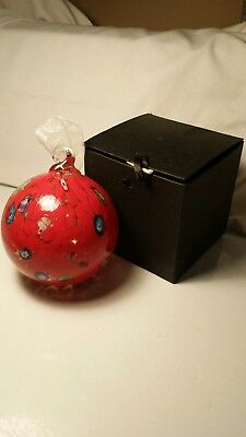 "Gorgeous Hand Blown Art Glass Christmas 3.5"" Bulb Ornament Red Very Heavy"