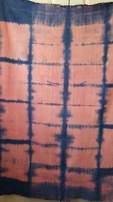 Authentic African Pink/ Blue Handwoven Bambara Mud Cloth From Mali West Africa