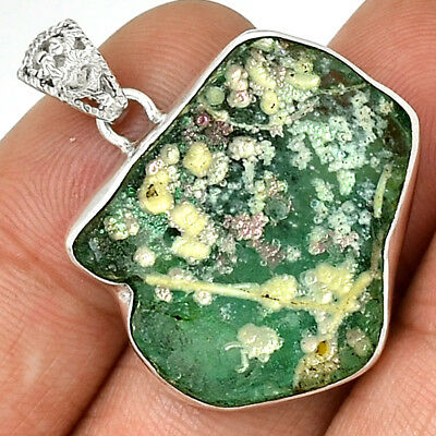 Ancient Roman Glass 925 Sterling Silver Pendant Jewelry AP11900