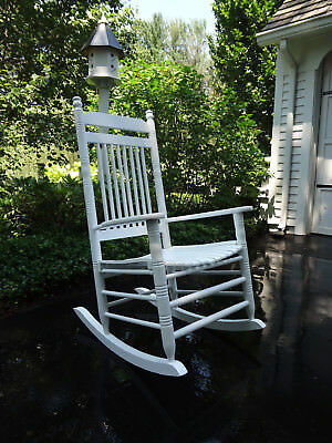 Vtg Pottery Barn White Wood Front Porch Patio Deck Garden Rocker Rocking Chair