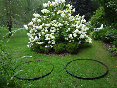 2 Antique 4' Garden Cast Iron Urn Tree Loop Round Edgers Carriage Wheel Rings